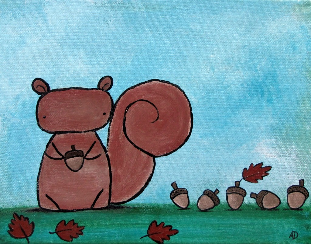 Autumn Squirrel and Acorn Painting1